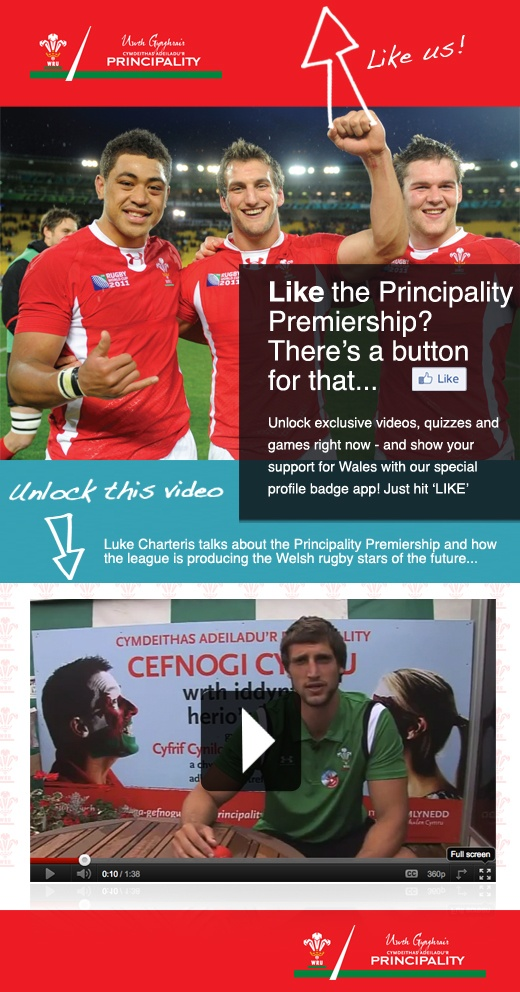 Principality and the Rugby World Cup 2011. Like the page, unlock the video, support the team (then cry when they get dumped out in the semis because of a dodgy refereeing decision). Grrrr.