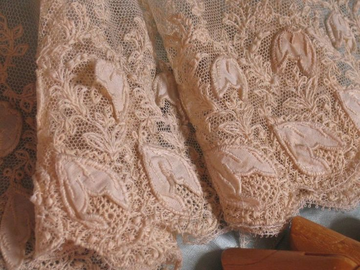 Antique sheer ecru raised hand embroidery scalloped cotton
