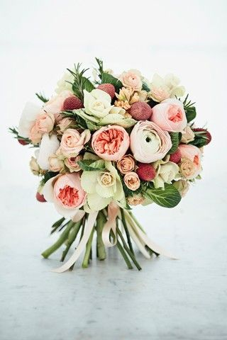 Blooming Fruit Bouquet - Lychees, Juliet David Austin rose, Gypsy queen hyacinth, Clooney Hanoi ranunculus and brassica bouquet,