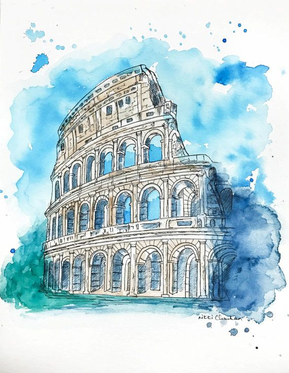 Original Colosseum Watercolor Painting by NiksPaintGallery on Etsy