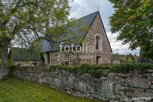 "Download the royalty-free photo ""Old church with trees, Finland, Aland Islands, Geta"" created by sokko_natalia at the lowest price on Fotolia.com. Browse our cheap image bank online to find the perfect stock photo for your marketing projects!"