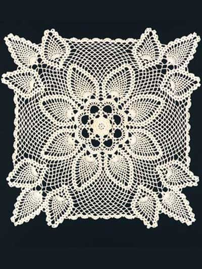 Vintage Crochet Irish Rose Square Doily Motif Pattern x