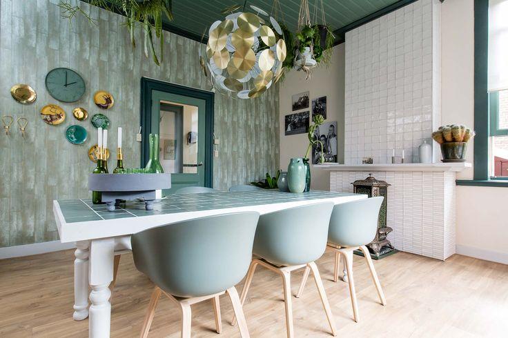 Bamboe behang bij Leon en Mieke uit aflevering 4, seizoen 5 | Weer verliefd op je huis | Make-over door: Fietje Bruijn | Fotograaf Barbara Kieboom