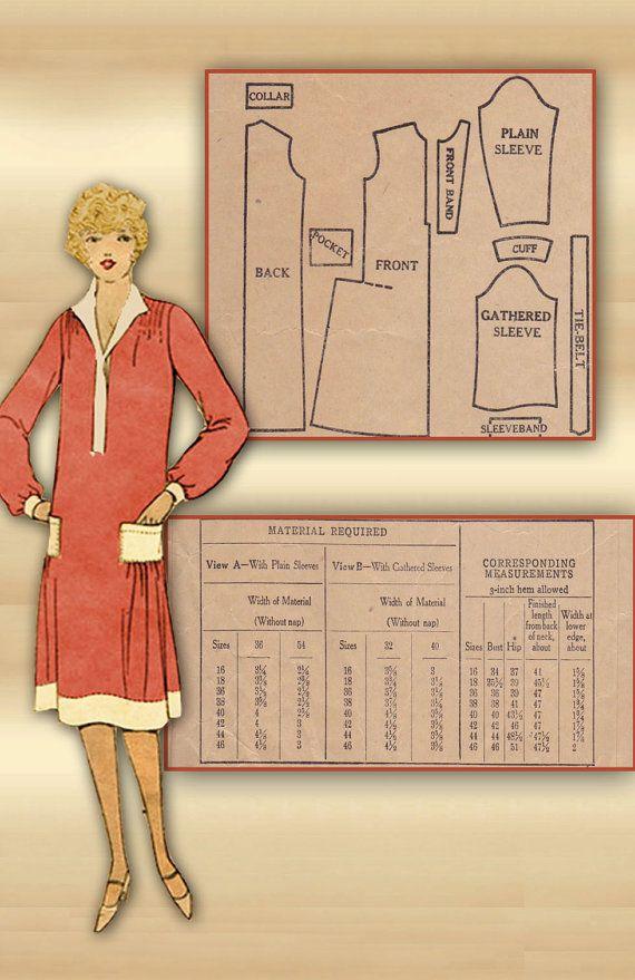 Vintage 1920s Dress Pattern McCall Printo Gravure Slip On