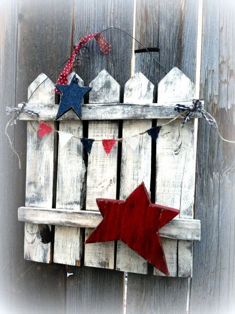 Americana Rustic Reclaimed Wood Picket Fence Door/ Wall Decor Patriotic 4th of July Independence Day