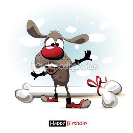 Gelukkige verjaardag glimlach hond cartoon leuk grappig — Stockvector © novkota1 #41953095
