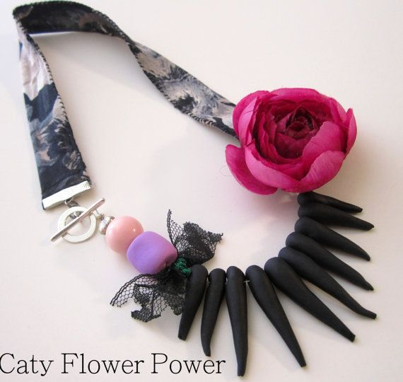https://www.etsy.com/listing/179719454/dark-pink-fabric-flower-necklace-black