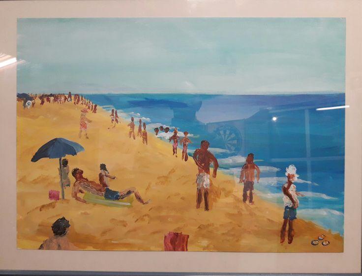 Strand plezier Acryl op papier. 50 x 70  in lijst. Verkocht
