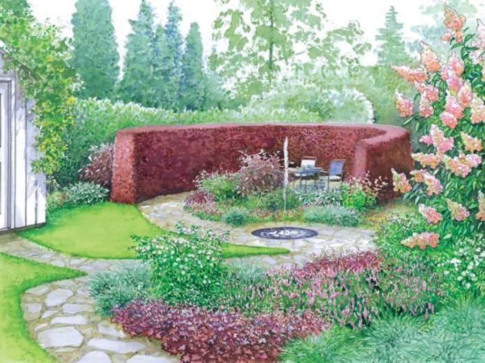 Zeichnung: Geschützter Sitzplatz im Garten