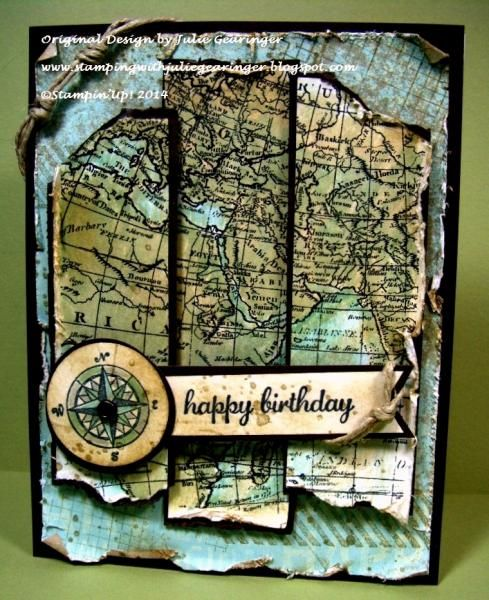 Vintage World Map- Handmade Map for Masculine Birthday by Julie Gearinger - Cards and Paper Crafts at Splitcoaststampers