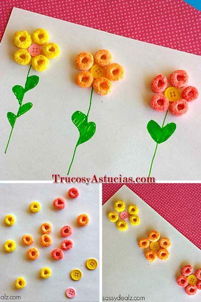 manualidad para niños de flore hechas con cereales