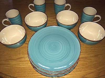Royal Norfolk Stoneware Turquoise/Brown Dinnerware 12 PCs Plates/Mugs/Bowls