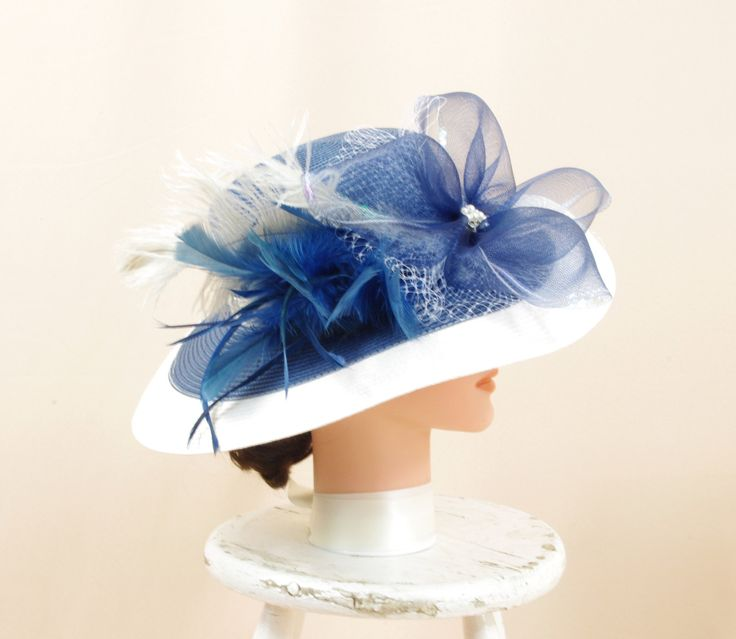 Adjustable Hat * Sky Blue and White Hat * Kentucky Derby Hat * Blue Wide Brim Hat * Church Hat * Formal Hat * Fashion Hat * Wedding Hat by englishrosedesignsoh on Etsy