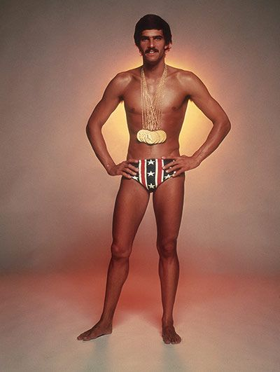 This photograph of Spitz adorned with his medals, which was used as the front cover of Sports Illustrated, became one of the most famous Olympic images. When Michael Phelps surpassed Spitz's achievement by winning eight gold medals in the pool in Beijing in 2008, he too posed for a photograph in similar fashion