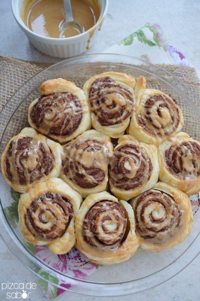 Roles de nutella con glaseado de café | http://www.pizcadesabor.com/2014/03/19/roles-de-nutella-con-glaseado-de-cafe/