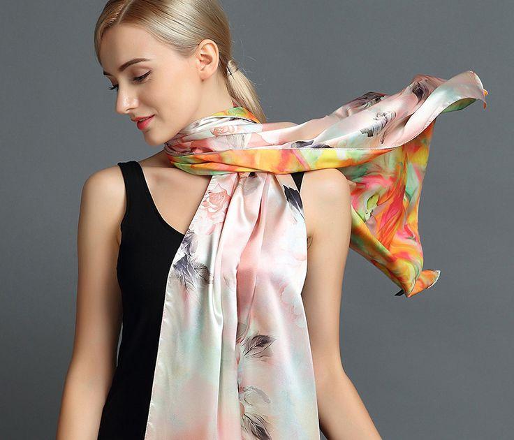 Elegantný hodvábny šál rozmerov 160 x 80 cm - Spring