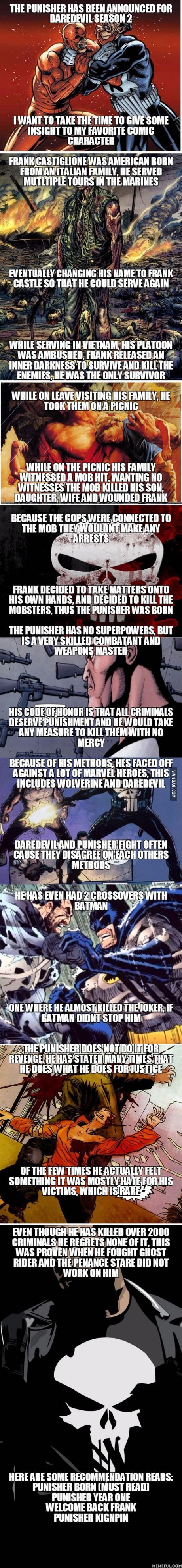 The Punisher has been announced for Daredevil season 2, I made a short history to inform people on this great character