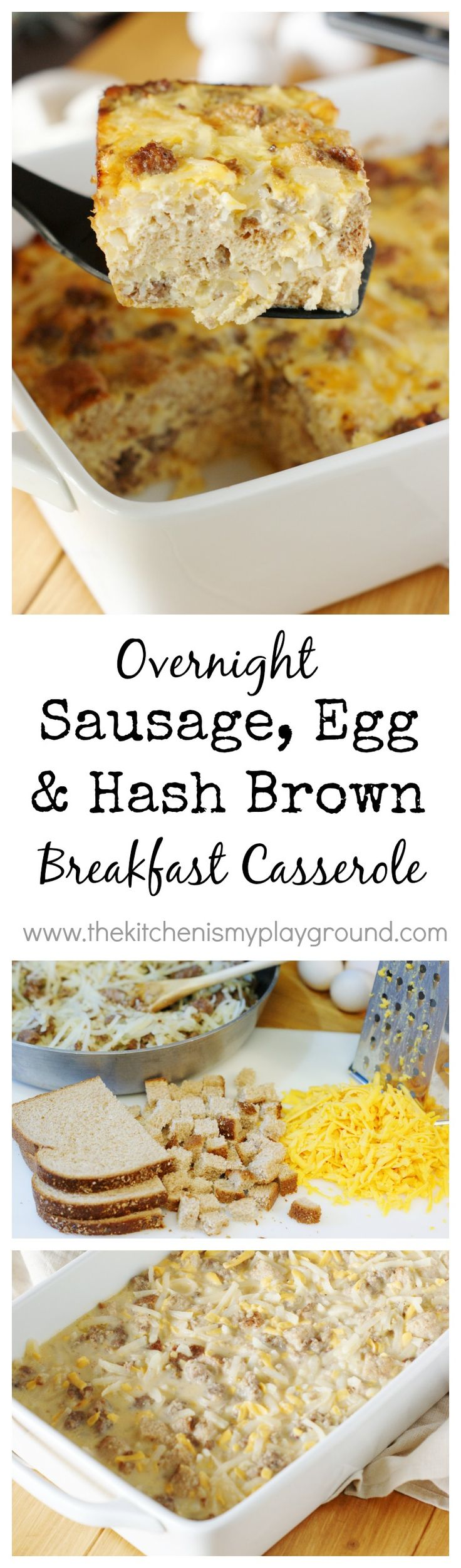 Overnight Sausage, Egg and Hash Brown Breakfast Casserole ~ whip up a hearty breakfast casserole your family will love, with a low-maintenance morning for you! www.thekitchenismyplayground.com