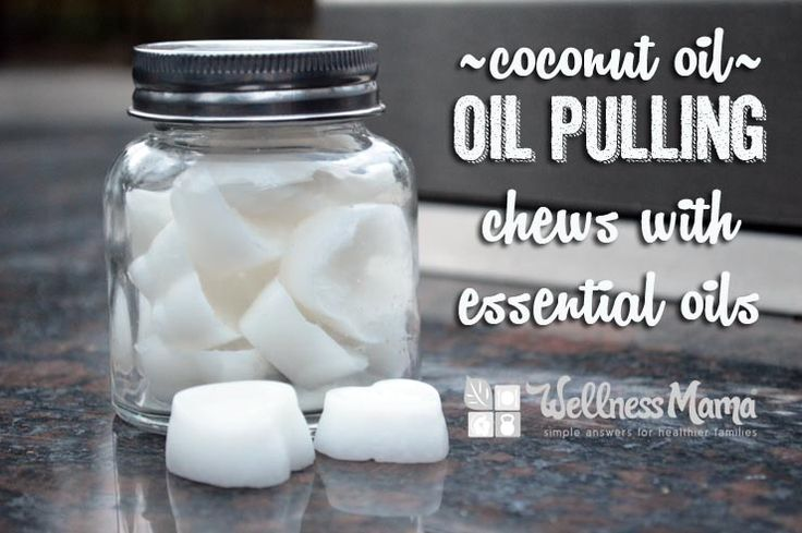These simple homemade coconut oil pulling chews use coconut oil and essential oils to cleanse the mouth and help remove bacteria and plaque.