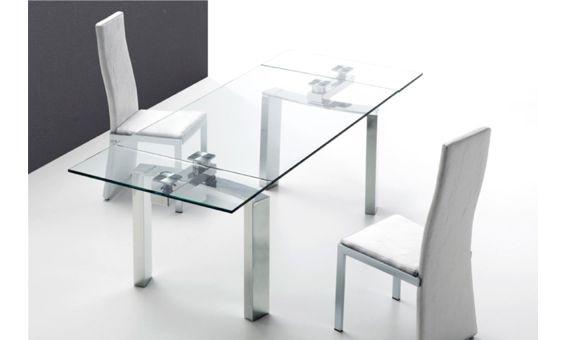 Mesa de comedor extensible de cristal extragrueso y acero - Mesa tower crystal ...
