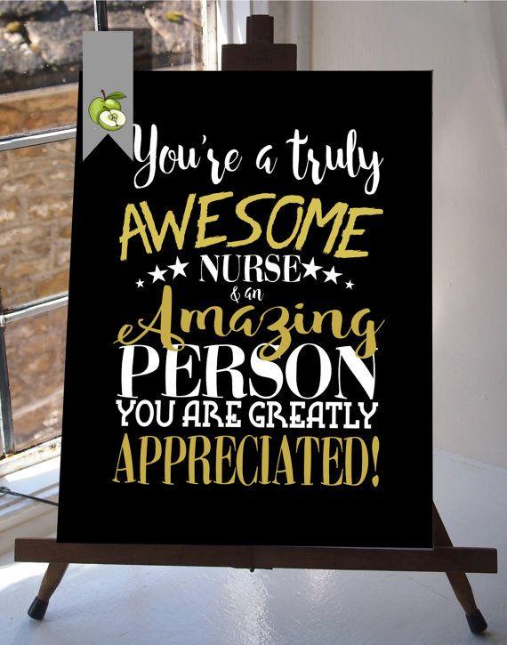 Nurse appreciation day, Nurse week, Nurse retirement, Nurse gift, thank you Nurse,Nurse, Typographic, DIY printable, retirement leaving gift