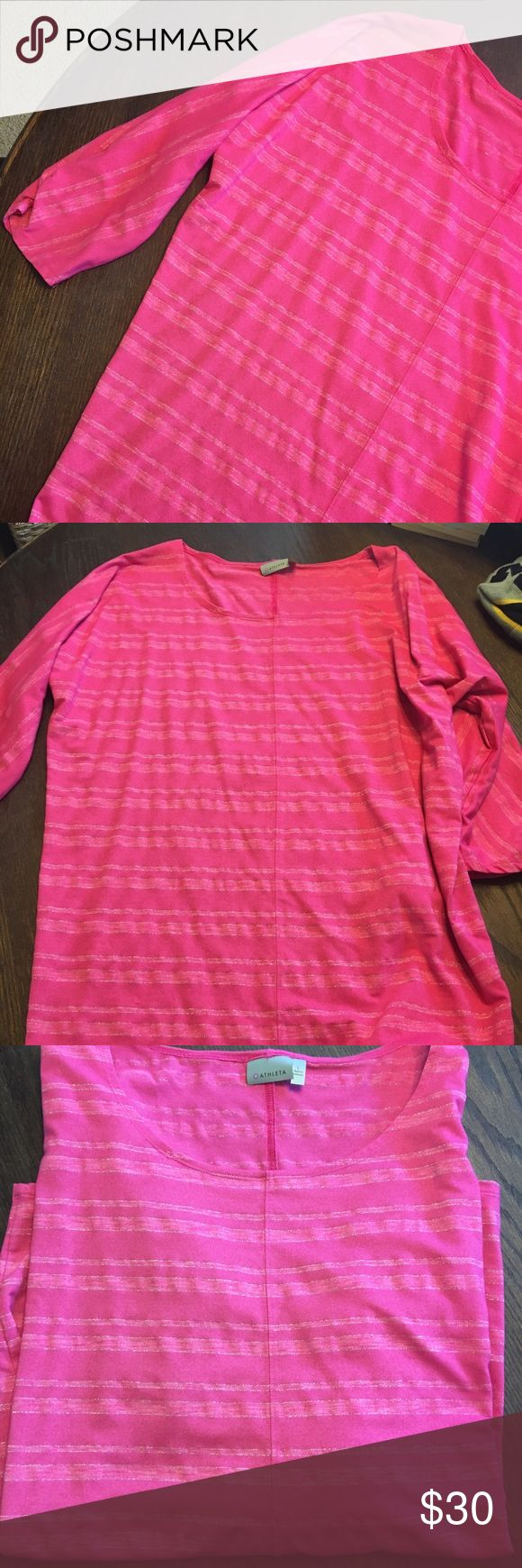Athleta Pink and Silver Batwing top ❤️ Gorgeous Athleta like new top! Perfect for throwing on for working out or out on the town for lunch. 48 bust 29 length. 3/4 length sleeves , stretchy material. Fast Shipping! Athleta Tops