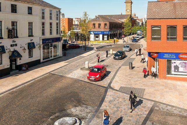 Fishergate, Preston. Route to City Centre. Redesigned 2015. Planit-IE + Hamilton-Baillie Associates