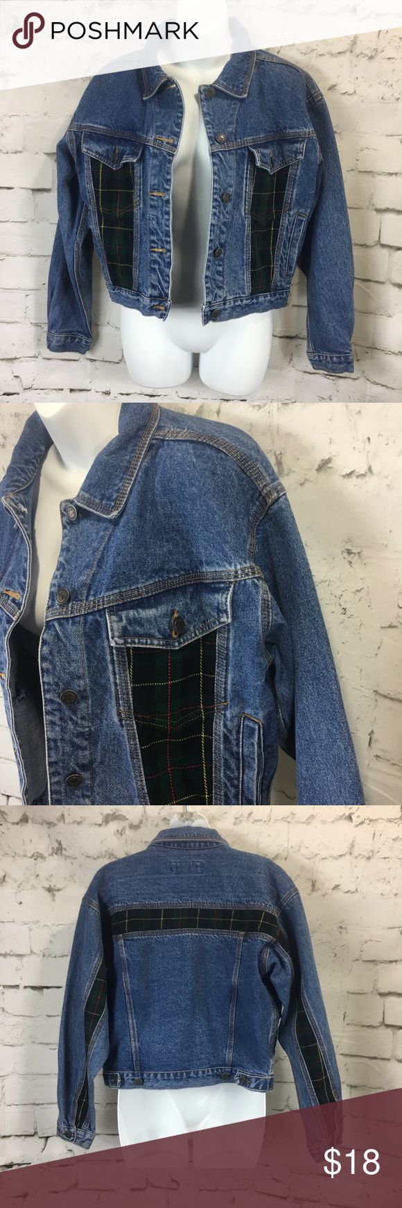 """VTG Nuovo County Seat Plaid Jean Trucker Jacket VTG Nuovo County Seat Denim Tartan Plaid Jean Trucker Jacket Womens Sz S Loose boyfriend fit Nice Pre-Owned Condition, No Stains, No Holes  *Measurements are taken with garments laid flat and unstretched, please compare to your own garments for best fit*  Chest laid flat from pit to pit: 21"""" across  Length from shoulder to hem: 19""""  B2 County Seat Jackets & Coats Jean Jackets"""