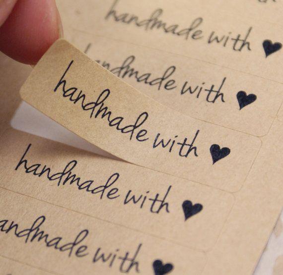 80 modern Free Spirit Script Font HANDMADE WITH LOVE Heart Rectangle Brown Kraft Sticker Labels Seals 1/2 x 1 3/4 inch - Free Shipping