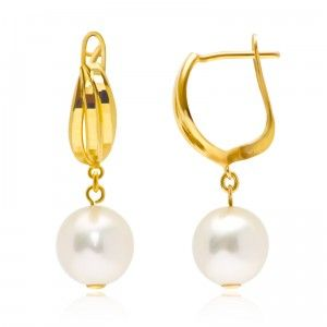 Finished Pearl in Gold Earrings - MettaGems | Natural Gemstone Jewelry, Direct from manufacturers  18K Solid Gold