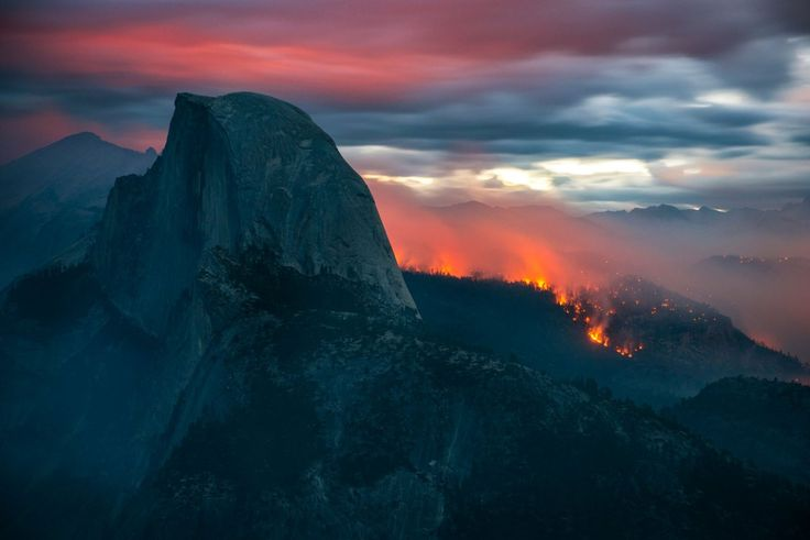 The Meadow Fire burns overnight near Half Dome in Yosemite National Park early Monday September 8, 2014. As of Wednesday the fire had burned over 4,500 acres and was 10% contained.