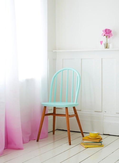 diy: painted chair. I think I will also attempt these ombre curtains!