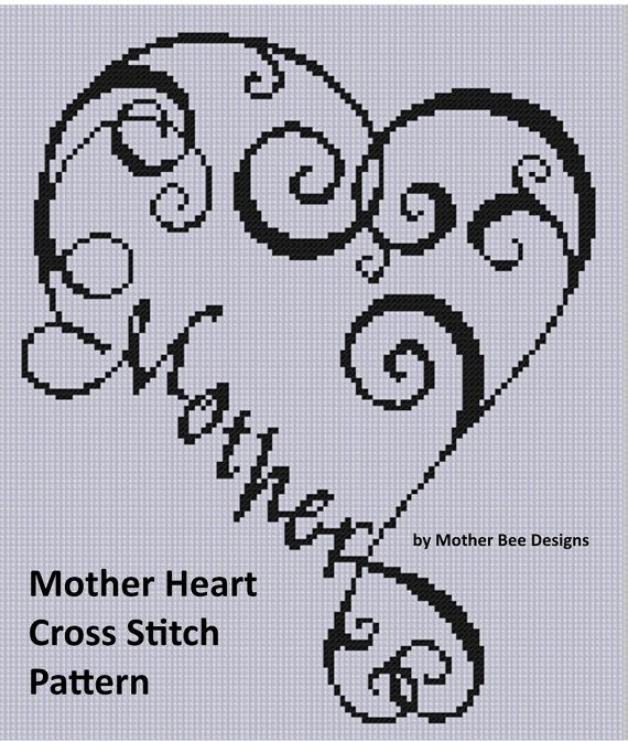 Mother Heart Cross Stitch Pattern Size on 14 count roughly 8 X 9 Includes Cross Stitch Tips