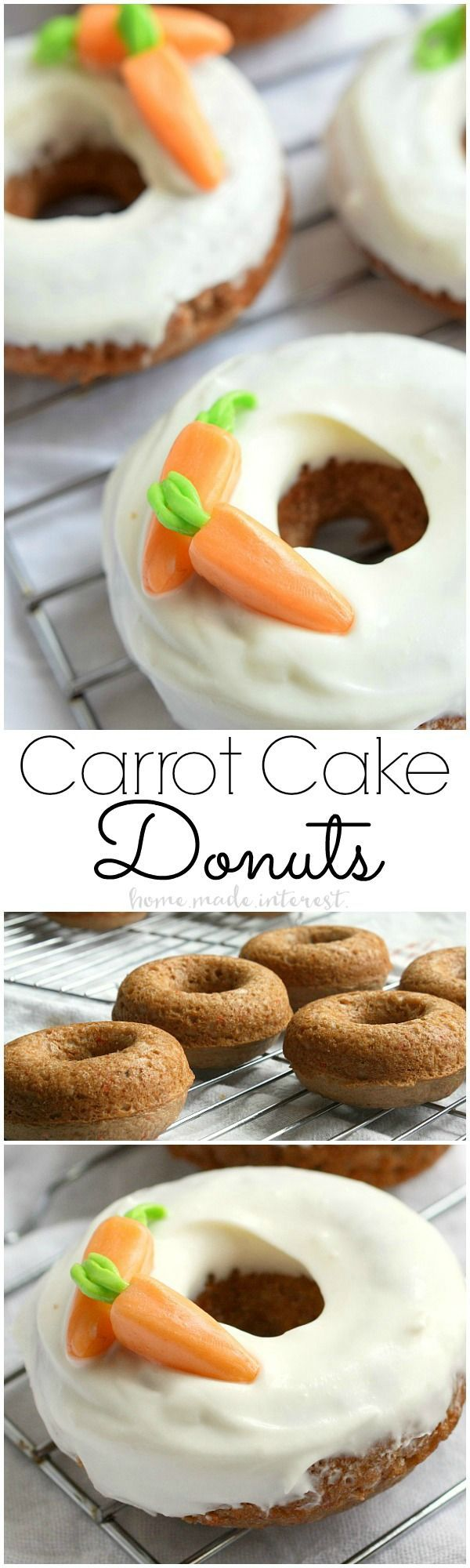 Baked Carrot Cake Donuts | These baked Carrot Cake donuts are frosted with a cream cheese glaze and topped with edible carrots. It is one of the best Easter brunch recipes or Easter dessert recipes. These carrot cake donuts are made with a boxed cake mix and are so easy to make! If you're looking for a sweet Easter brunch recipe you have to try these. | Home. Made. Interest.