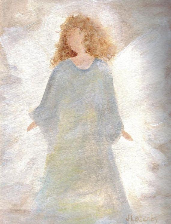 Angel Print original painting print custom by JaneLazenbyartist, $18.00