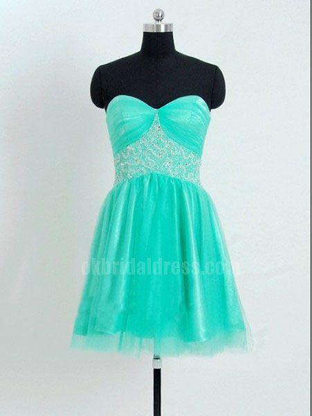 green short sweetheart rhinestones junior bridesmaid dress | Cheap bridesmaid dresses Sale
