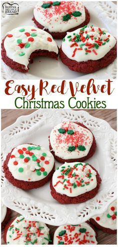 Easy Red Velvet Christmas Cookies - making red velvet cookies has never been so simple! Topped with cream cheese frosting, these festive holiday cookies are irresistible! Butter With A Side of Bread