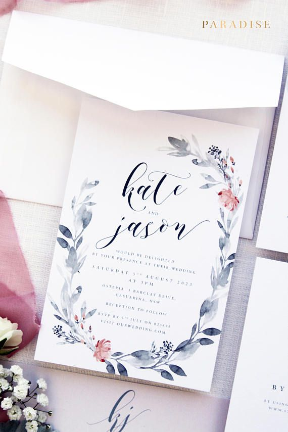 Kate Grey and Orange Wreath Script Wedding Invitation Sets, Digital Invitation Set or Printed Invitations, Garden Wedding, Stationery