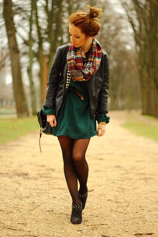 : Autumn Outfits, Fall Style, Infinity Scarfs, Fall Outfits, Fallfashion, Leather Jackets, Fall Fashion, Fall Dresses, Green Dresses