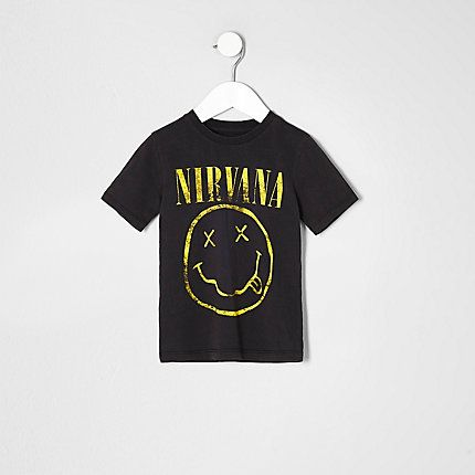 Mini boys grey nirvana print T-shirt