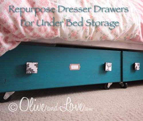 If you need a little more bedroom storage then consider this DIY project. Refinish old dresser drawers and put them on wheels so they slide under the bed. Click Here For Dresser Drawer Under Bed Storage