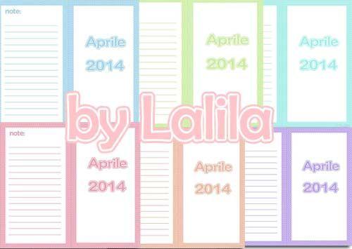 Refill per agenda con mese su due pagine  colori pastello