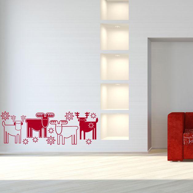 Etiqueta de la pared de Navidad del reno