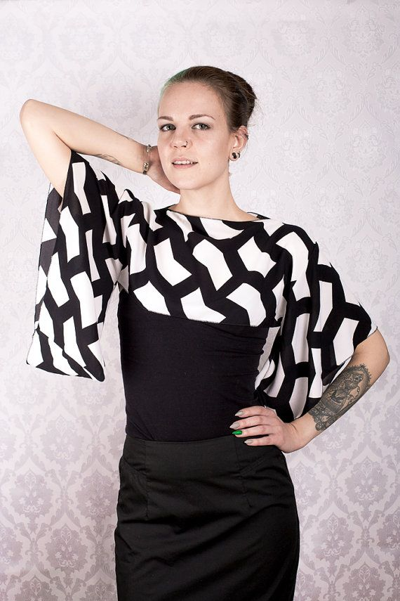 Black and white pattern Kimono sleeve top by KitsuneCoutureFI