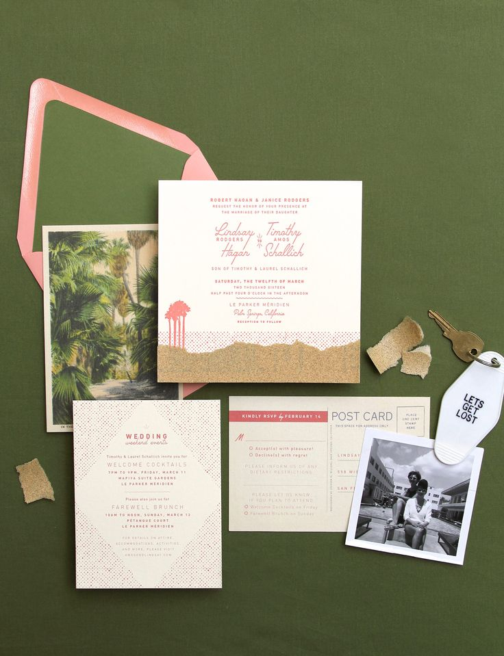 Letterpressed Palm Springs custom wedding invitation. Printed in coral ink, the invitation also features torn sandpaper to complete the desert invitation scene. Vintage postcard reply card for extra points.