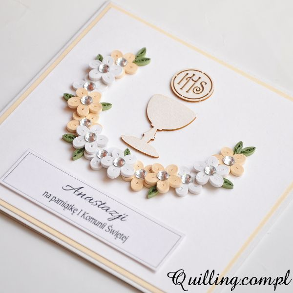 first communion, quilling, greeting card, handmade, Quilling.com.pl