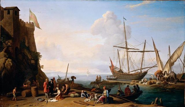 Mediterranean harbour scene with merchants selling their wares on the quay