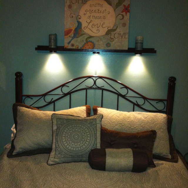 Shelf Above Bed Complete With Adjule Reading Lights Painted Inexpensive And From Ikea Home Light
