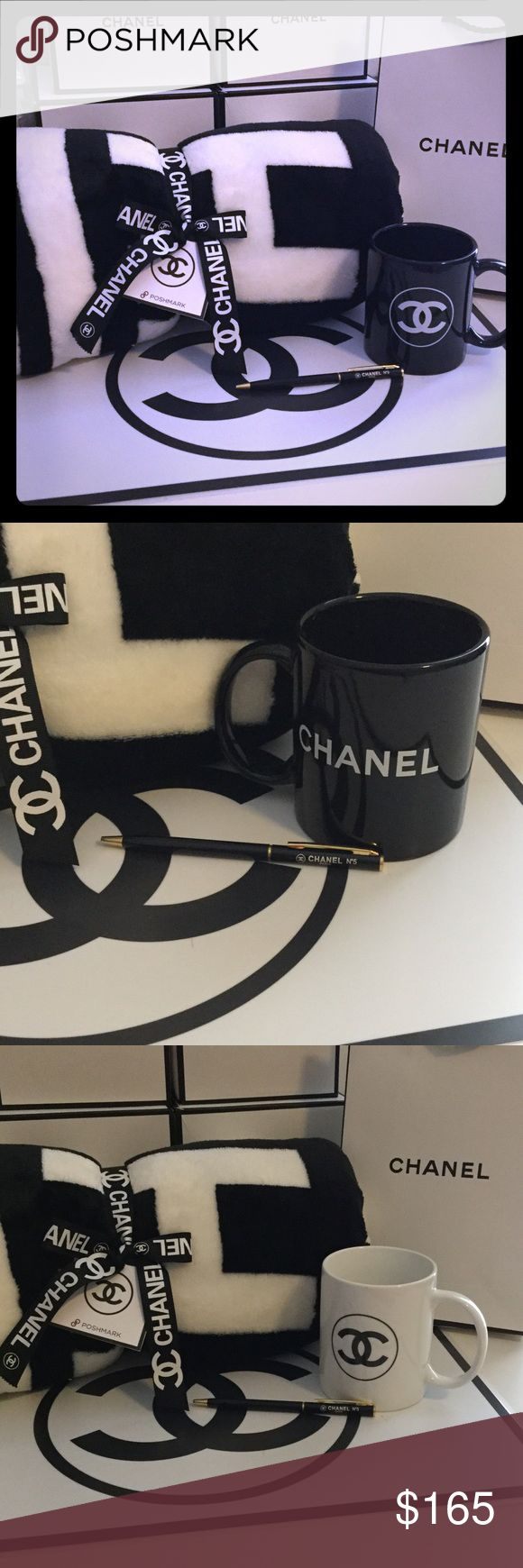 🎁Chanel Holiday Bundle 🎁 Mug, Throw and 1 CC Pen Great gift idea for the Chanel lover in your life! Includes the plush camellia flower throw (for pictures of Throw fully laid out see my closet!), ceramic coffee mug + 1 Chanel pen! Your choice of black or white mug! Chanel gift bag included! CHANEL Intimates & Sleepwear