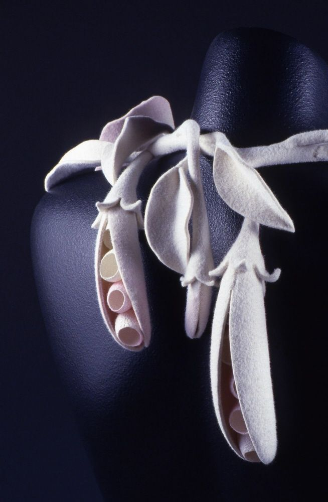 Matris - Hand dyed, blocked, and stitched felt and silk cocoons. Lilyana Bekic